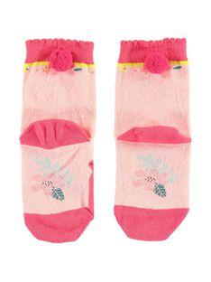 Bouclé-Socken rosa für kleine Mädchen TALIETTE / 20E4PFB1SOQ307