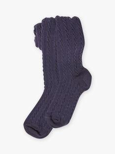 Einfarbige blaue Strumpfhose für Mädchen BROSUETTE 3 / 21H4PFB1COTC214