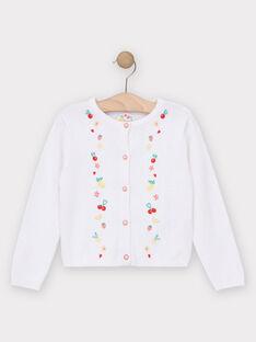 Cardigan mit Obststickerei für Mädchen, ecrufarben TUCAETTE / 20E2PFH2CAR001