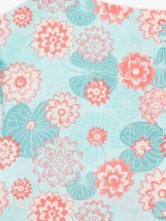 Blaue und korallfarbene Bluse und Blümchen mit Blumendruck aus Popeline ZACANDY / 21E1BFI1CHE629