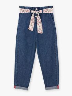 Paperbag-Jeans für Mädchen mit Gürtel BAFOETTE / 21H2PF11JEAP269