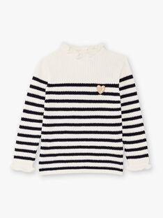 Weiß und marineblau gestreifter Pullover für Mädchen BIPOLETTE / 21H2PF51PUL001