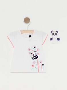Baby-T-Shirt und Fingerpuppe für Mädchen, ecrufarben TAQLOE / 20E1BFP1TMC001