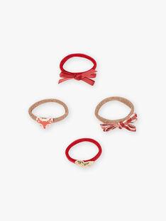 Set mit 4 passenden goldenen und roten Gummibändern für Mädchen BIMINETTE / 21H4PFS3ELA954