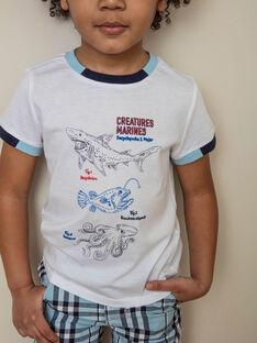 Weißes T-Shirt mit Meerestier-Motiven Kind Junge ZINUAGE / 21E3PGT2TMC000