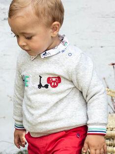 Langärmeliger grauer bestickter Pullover für Baby-Jungen BABOBO / 21H1BG11SWE943