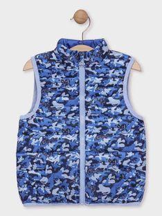 Ärmellose Daunenjacke mit Printmuster für Jungen in einem kleinen Beutel, blau TUAMAGE / 20E3PGT1GTV705