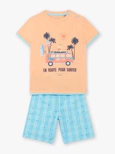 Orange und türkisfarbener Schlafanzug für Jungen ZECOURSAGE / 21E5PG21PYJ401