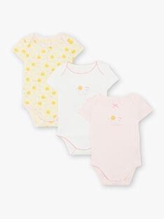 3er-Set kurzärmelige Baby-Mädchen-Bodys aus Bio-Baumwolle ZEJENNA / 21E5BF31BDLB104