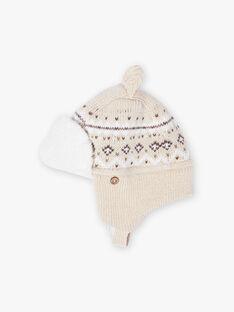 Jacquard-Strickmütze für Baby Junge, beige BIRICARD / 21H4BGE3BONA011