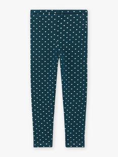 Blaue Entenfell-Leggings für Mädchen mit goldenen Tupfen BROLIETTE 2 / 21H4PFF2CTT714