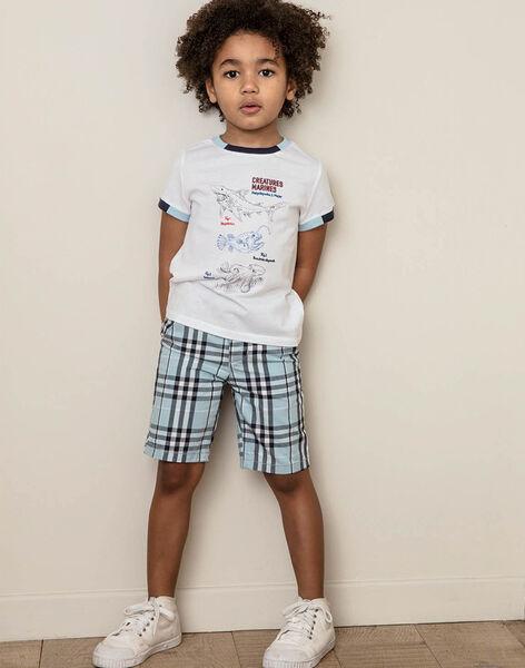 Himmelblau karierte Bermudashorts Kind Junge ZIONAGE / 21E3PGT3BER213
