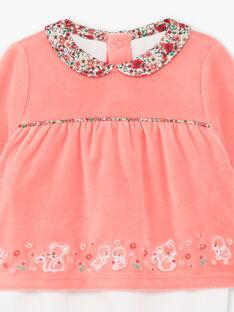 Zweifarbiger Langarm-Schlafanzug für Baby-Mädchen aus Samt BEBULLE / 21H5BF61GRE404