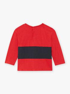 Rotes langärmeliges T-Shirt für Baby-Jungen mit Auto-Motiv BAPEPITO / 21H1BGM1TMLF528