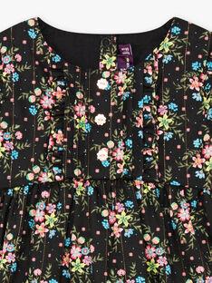 Baby Mädchen Langarm Schwarz Floral Print Kleid BAMAUD / 21H1BFM2ROB090