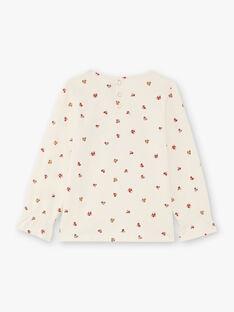 Rotes und ecrufarbenes Mädchen-T-Shirt mit Blumendruck BUTIETTE / 21H2PFJ3TML001
