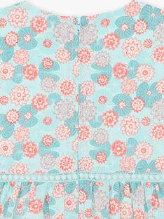 Blaues und korallenrotes Kaselkleid mit Blumendruck aus Baumwolle ZESUZETTE / 21E2PFI1CHS629