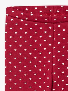 Burgunderrote Leggings für Mädchen mit Herzchenaufdruck BROLIETTE 3 / 21H4PFF3CTT503