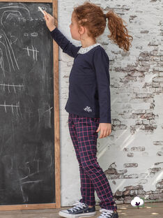 Tuscheblaue Hose für Mädchen mit rotem Karo BROMILETTE3 / 21H2PFB5PANC214