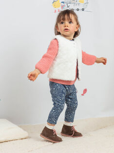 Petrolblaue Leggings für Mädchen mit Blumendruck BAKIM / 21H4BFL1CAL715