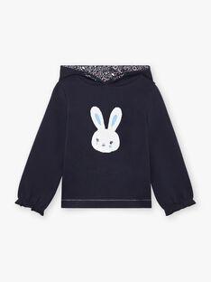 Marineblauer Kaninchen-Pullover für Mädchen mit Wendepailletten BROZOETTE / 21H2PFF1SWE070