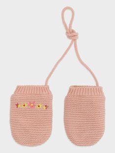 Baby-Fäustlinge kraus rechts gestrickt für Mädchen, rosa TABIANCA / 20E4BFB1GAN307