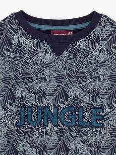 Marineblaues Dschungel-Sweatshirt für Jungen BUWAGE1 / 21H3PGB2SWE070