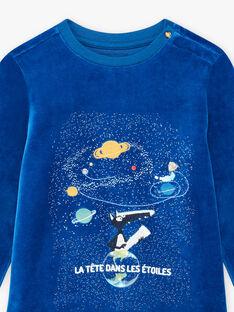 Blauer Samtpyjama für Jungen mit Buch WOLF BULOUAGE / 21H5PGN1PYJC232