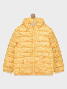 Gelber langärmeliger Steppjacke mit Aufdruck in einem Beutel für Jungen TURIAGE / 20E3PGT2DTVB104
