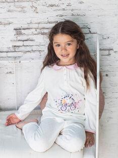 Mädchen-Pyjama-T-Shirt und Hose ecru und rosa BEBULETTE / 21H5PF61PYJ001