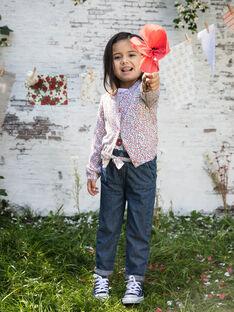 Langärmelige Strickjacke mit Blumendruck für Mädchen BAZIETTE / 21H2PF11CAR001