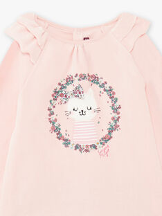 Pyjama-Set für Mädchen aus rosa Samt mit Katzenmotiv BEBICOETTE / 21H5PF71PYJD329