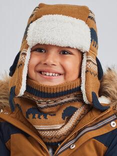 Jacquard-Strickmütze für Baby-Jungen in Kamel mit Bärendruck BITETAGE / 21H4PGE3BON804