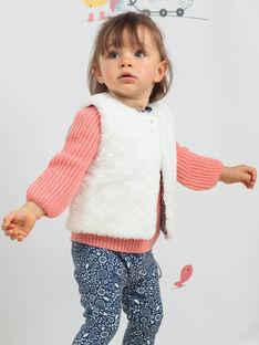 Baby Mädchen ecru faux Pelz ärmellose Strickjacke BAKARINE / 21H1BFL1CSM001